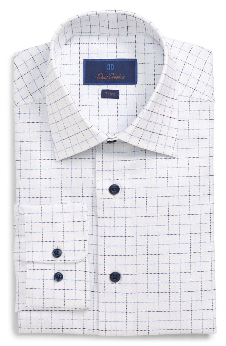 DAVID DONAHUE Trim Fit Check Dress Shirt, Main, color, WHITE/BLUE