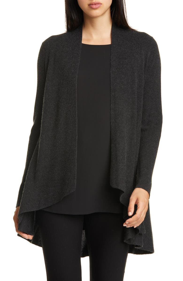 EILEEN FISHER Angled Silk & Cashmere Cardigan, Main, color, CASSIS