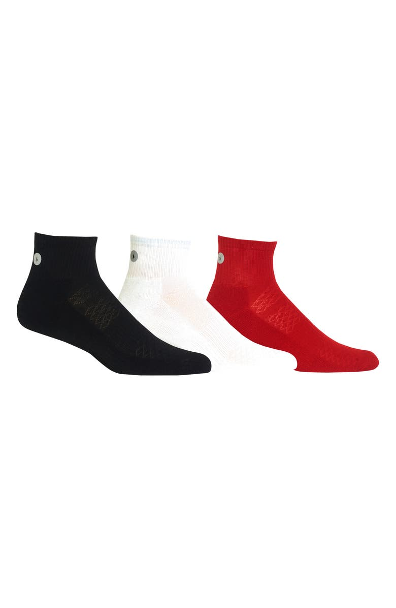 POLO RALPH LAUREN Ralph Lauren 3-Pack Reflector Quarter Socks, Main, color, BLACK MULTI