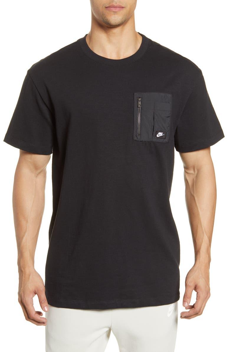 NIKE Modern Essentials Lightweight Mix Short Sleeve Top, Main, color, BLACK/ BLACK OXIDIZED