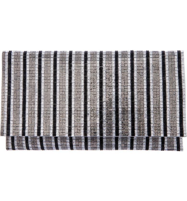 NINA Crystal Stripe Clutch, Main, color, GUNMETAL MULTI