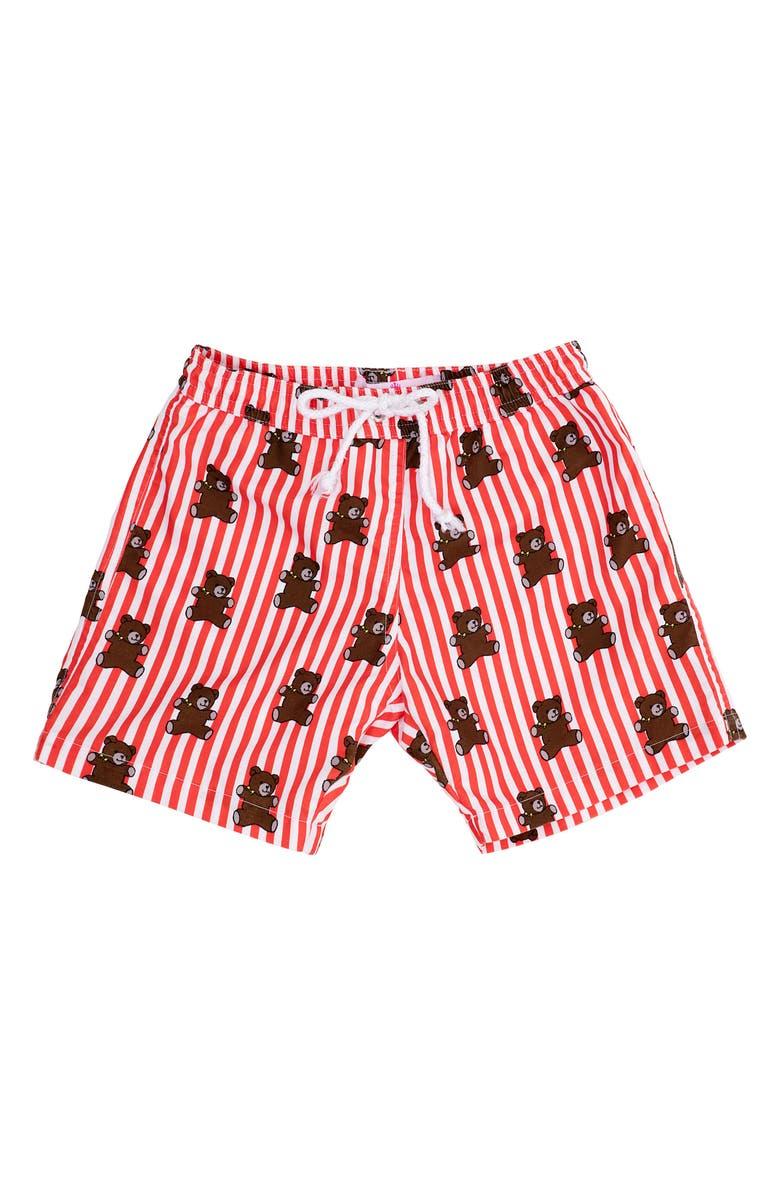 PICCOLI PRINCIPI Mason Swim Trunks, Main, color, RED STRIPES AND BEARS