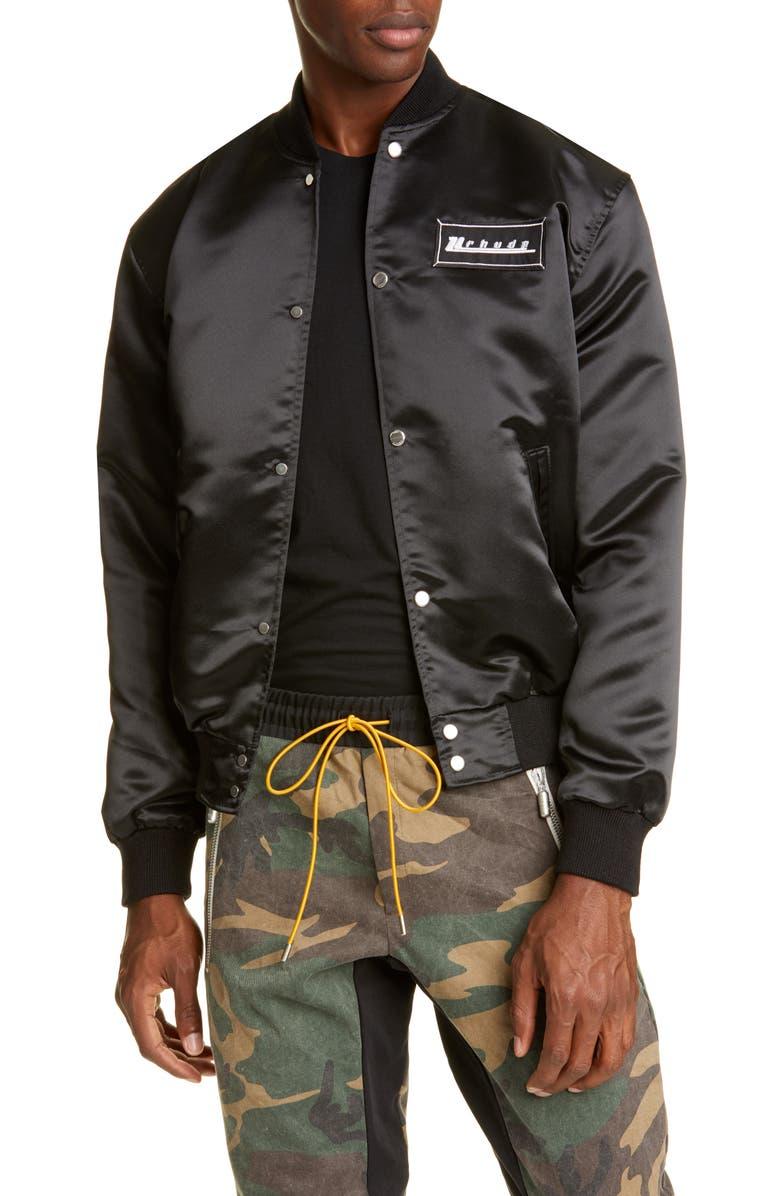 RHUDE Varsity Bomber Jacket, Main, color, BLACK W/ CHECKERBOARD