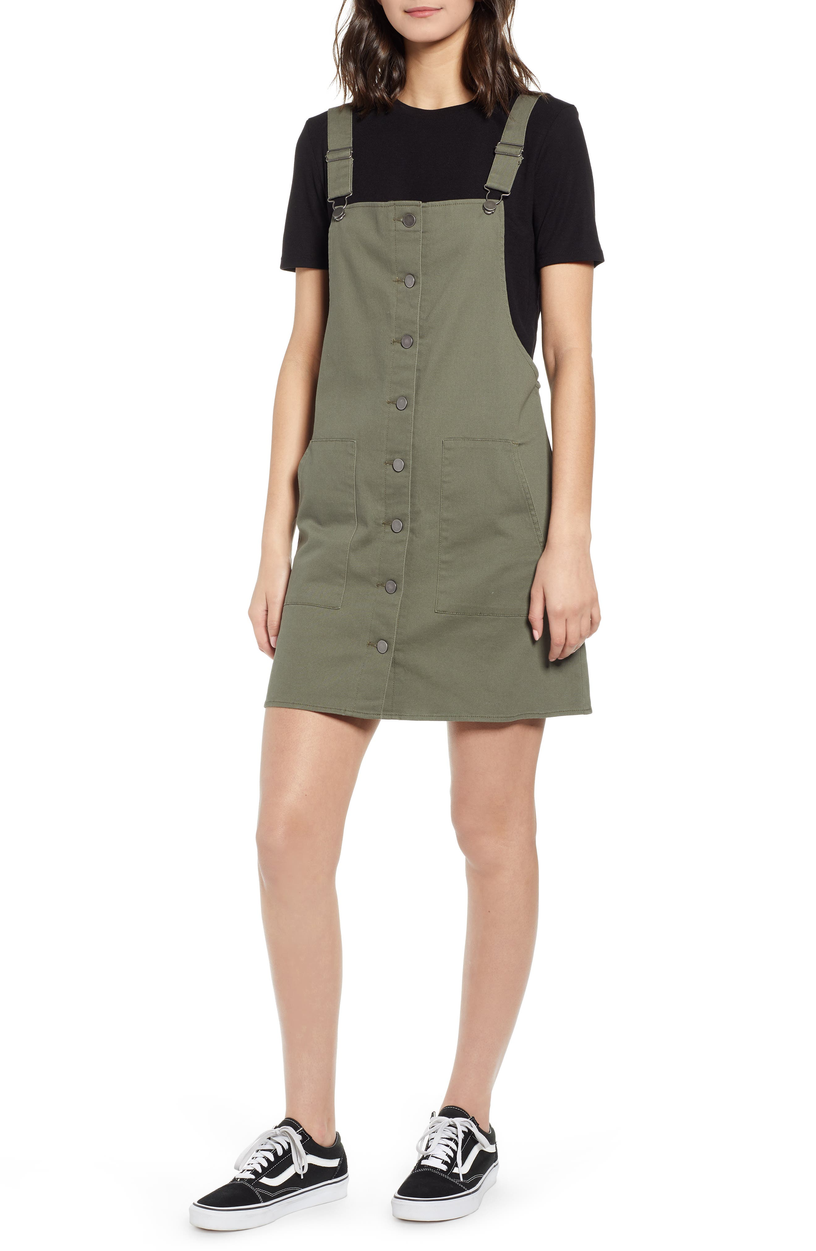 Love, Fire Button Front Twill Pinafore Dress, Green