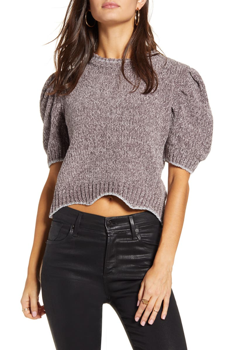 ENGLISH FACTORY Metallic Chenille Crop Sweater, Main, color, GREY