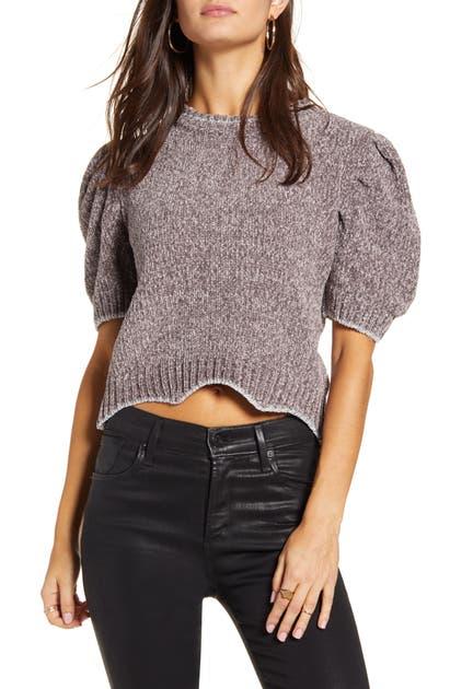 English Factory Metallic Chenille Crop Sweater In Grey