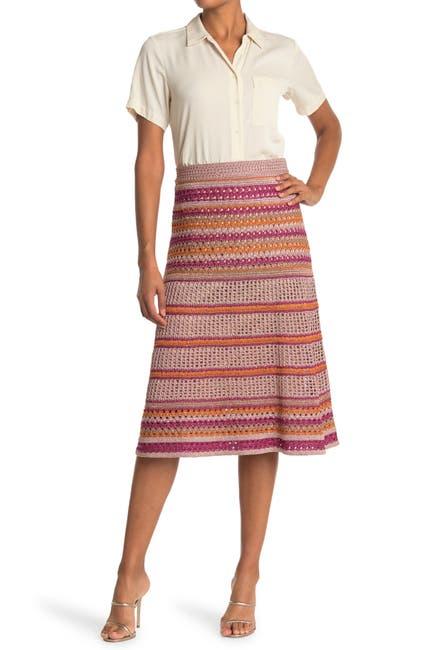 Image of M Missoni Stripe Print Knit Midi Skirt