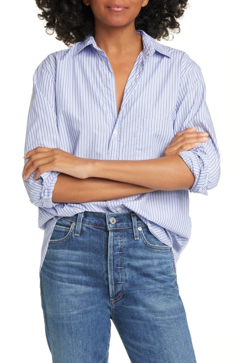 FRANK & EILEEN Joedy Superfine Stripe Cotton Shirt, Main, color, BLUE/ NAVY STRIPE