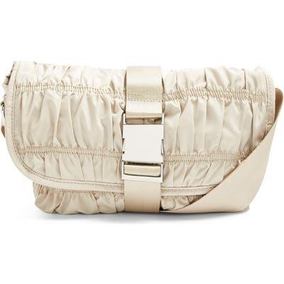 Topshop Ruched Crossbody Messenger Bag - Ivory