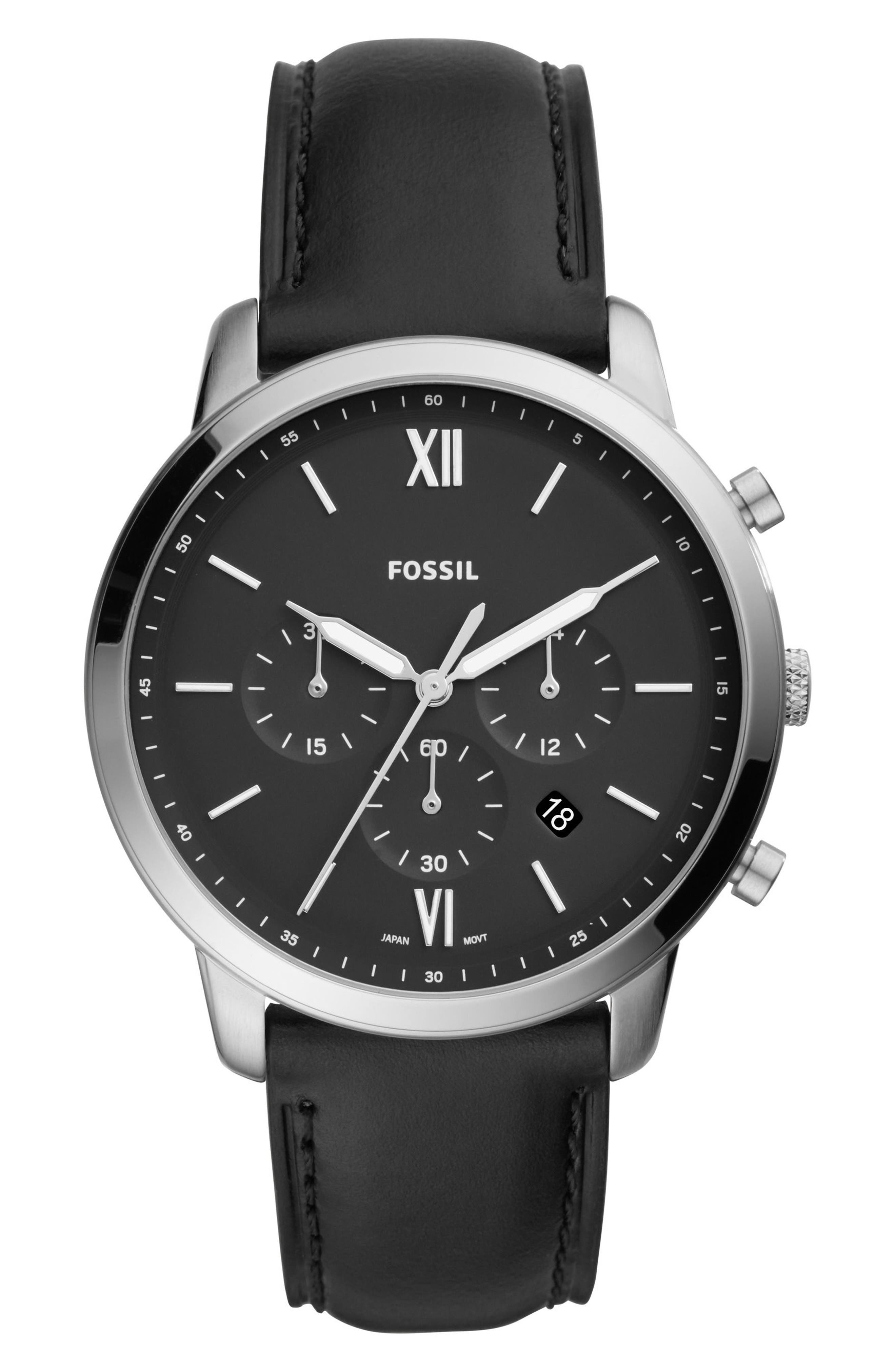 ,                             Neutra Chronograph Leather Strap Watch, 44mm,                             Main thumbnail 1, color,                             BLACK/ BLACK/ SILVER