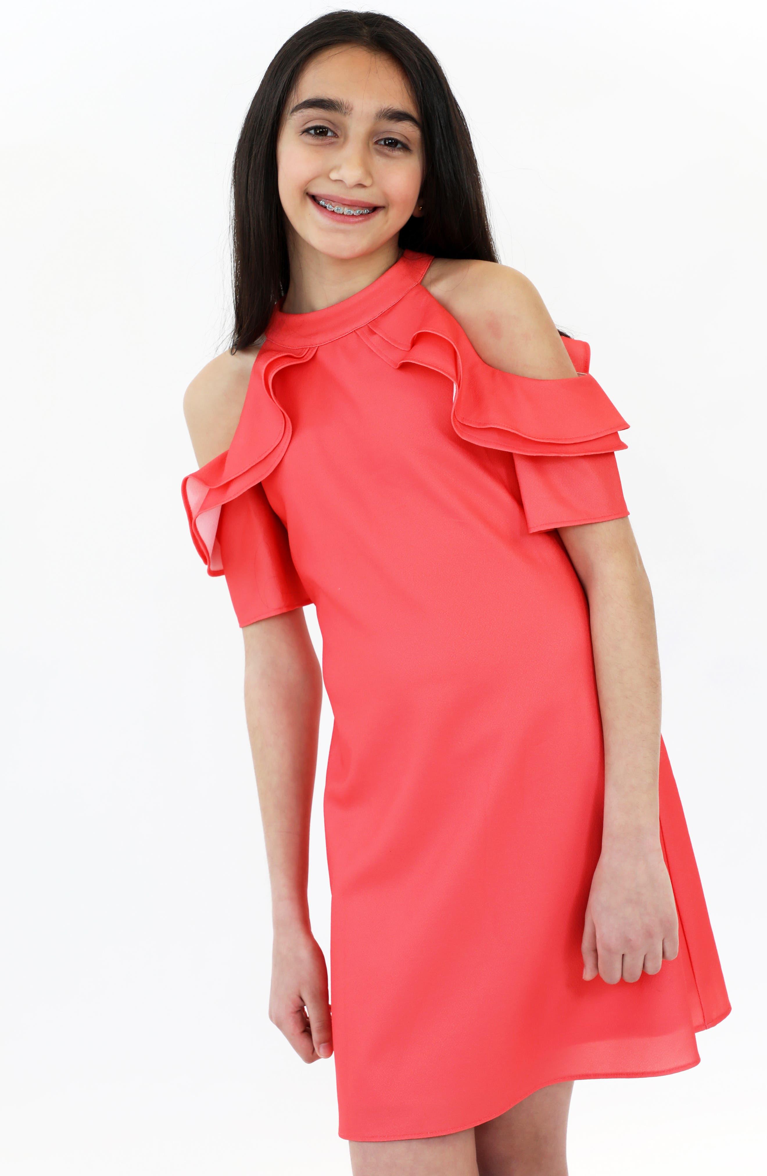,                             Cold Shoulder Crepe Dress,                             Alternate thumbnail 4, color,                             950