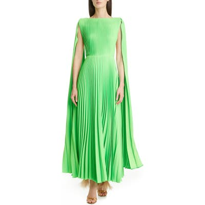 Valentino Cape Sleeve Pleated Gown