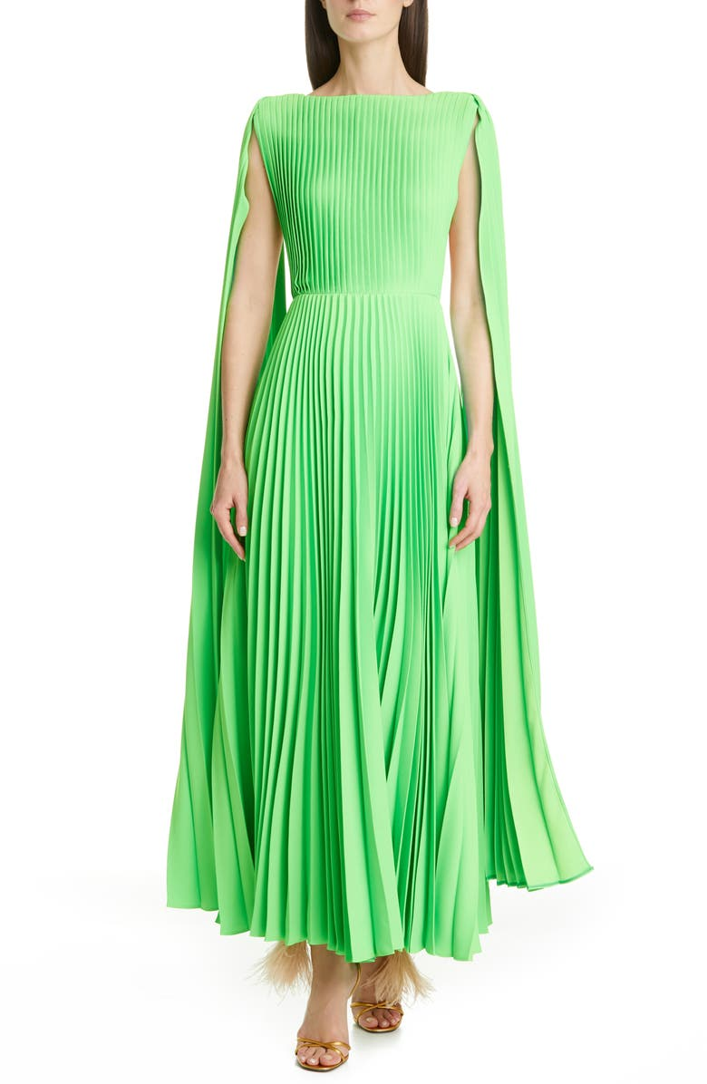 VALENTINO Cape Sleeve Pleated Gown, Main, color, 300