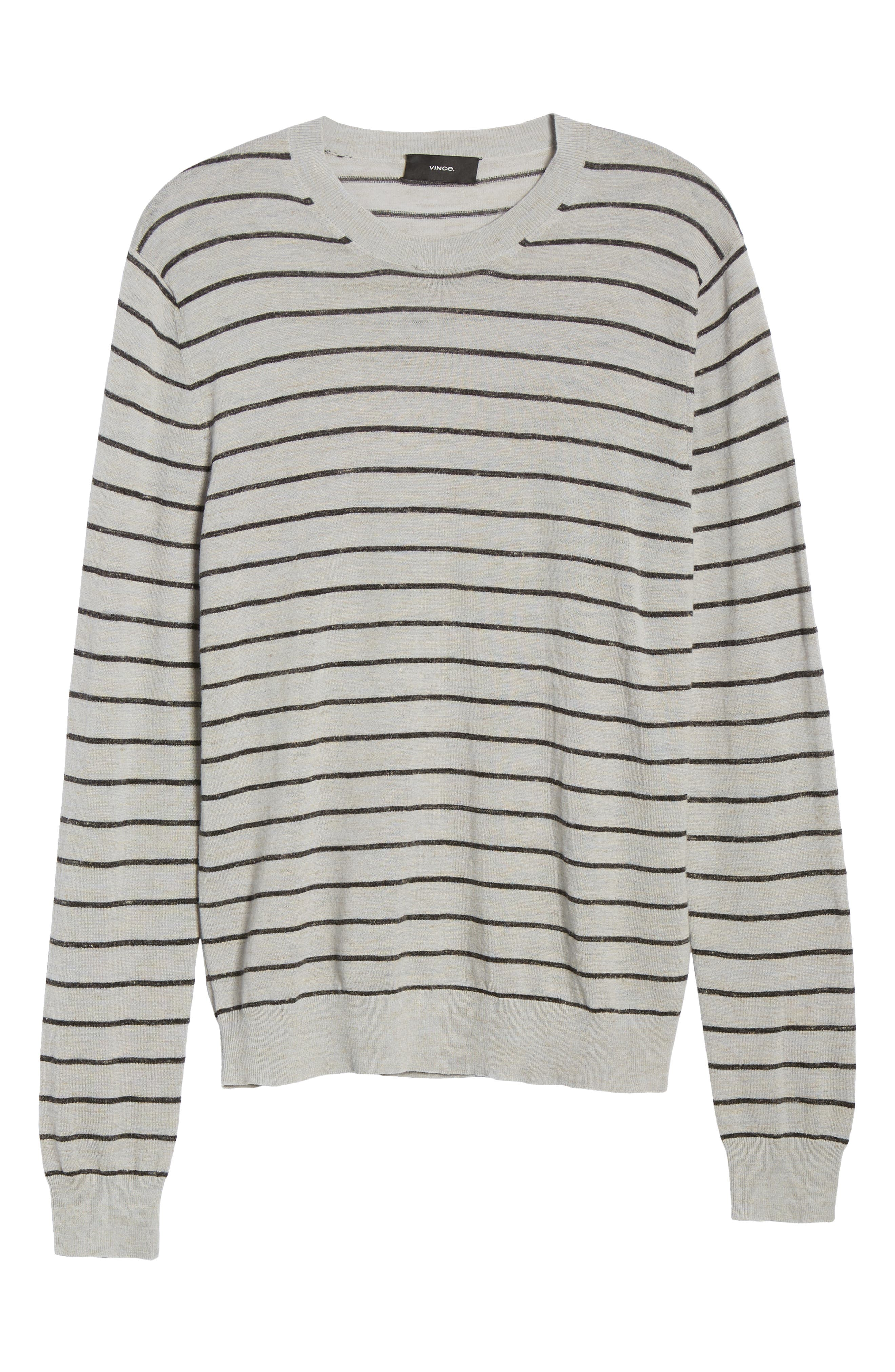 ,                             Stripe Crewneck Wool & Linen Sweater,                             Alternate thumbnail 6, color,                             HEATHER LIGHT MED GREY/ BLACK