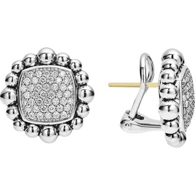 Lagos Caviar Spark Square Diamond Stud Earrings