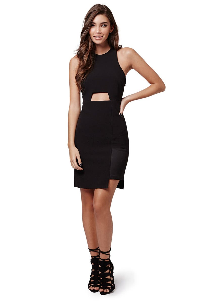 TOPSHOP KENDALL + KYLIE at Topshop Cutout Body-Con Dress, Main, color, 001
