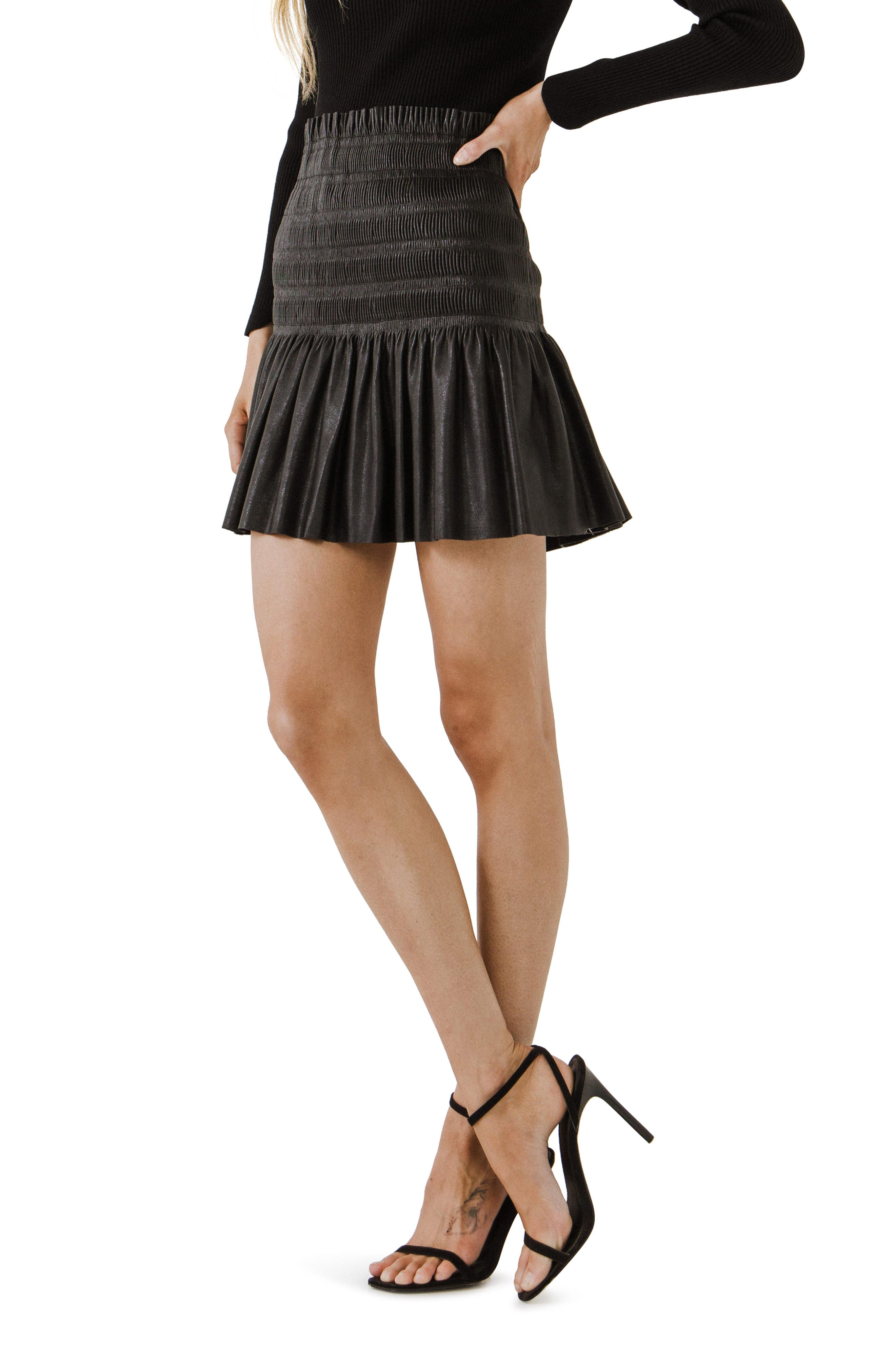 Smock Pleated Faux Leather Skirt