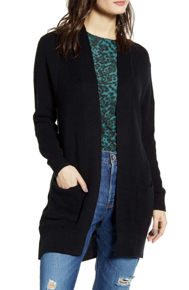 BP. Longline Open Cardigan, Main, color, BLACK