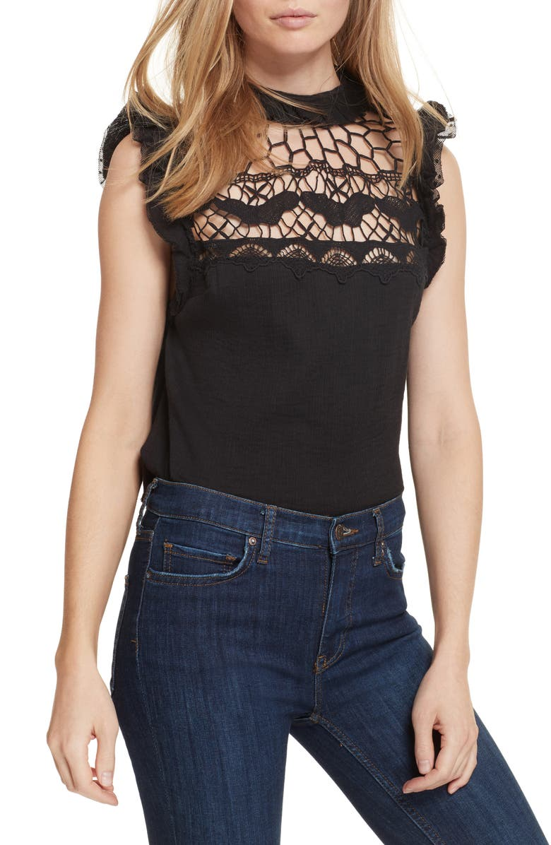 FREE PEOPLE Simply Smiles Crochet Top, Main, color, 001