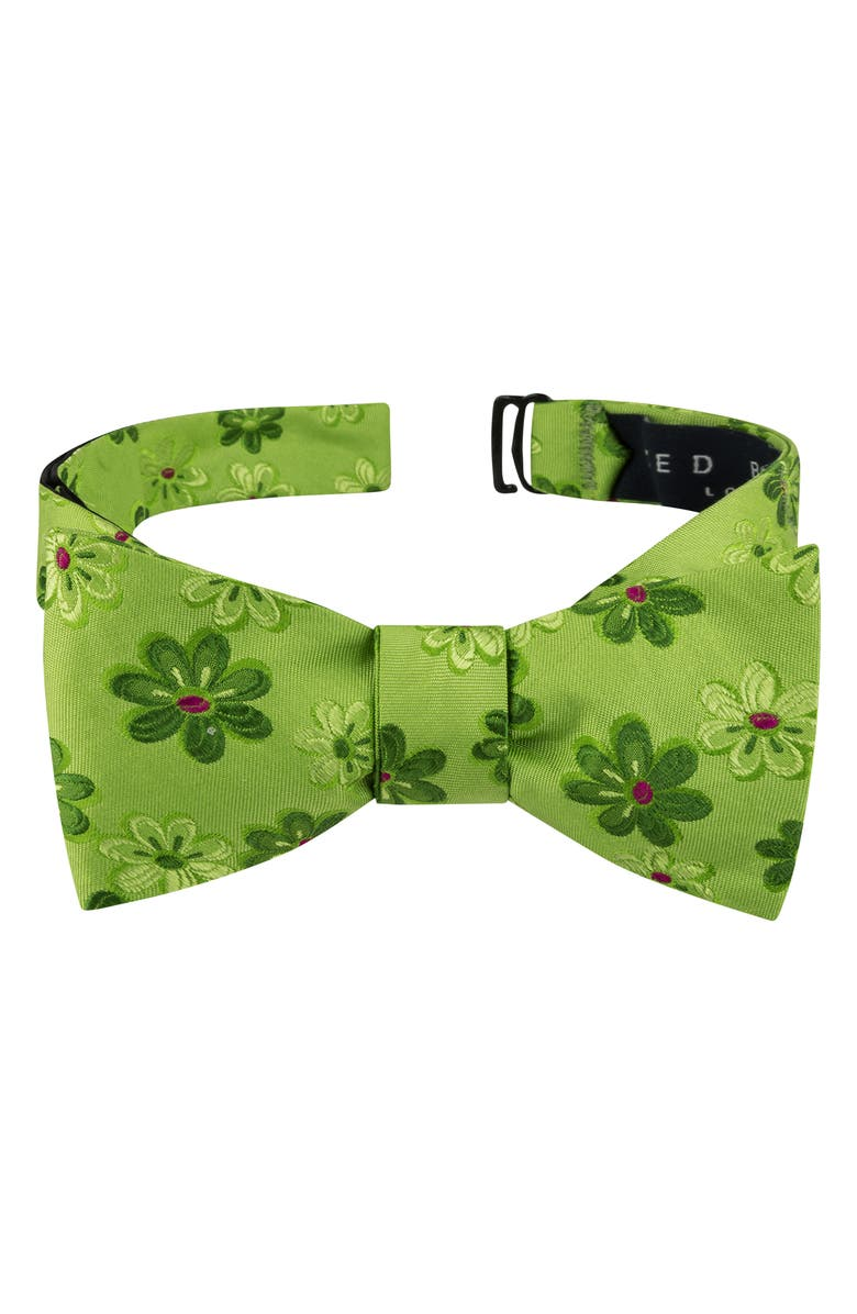 TED BAKER LONDON Tonal Daisy Silk Bow Tie, Main, color, GREEN