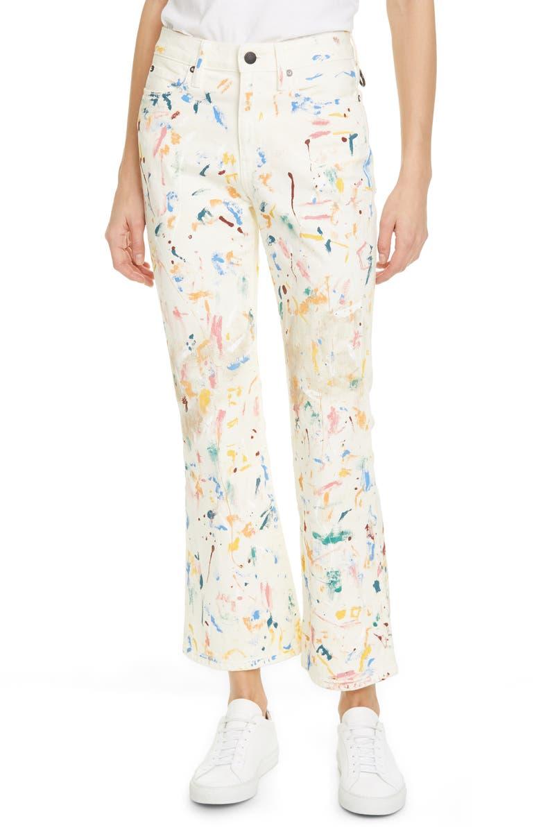SIMON MILLER Paint Splatter Crop Bell Jeans, Main, color, WHITE PAINT SPLATTER