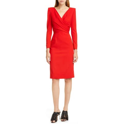 Alexander Mcqueen Long Sleeve Stretch Wool Crepe Wrap Front Dress, 8 IT - Red