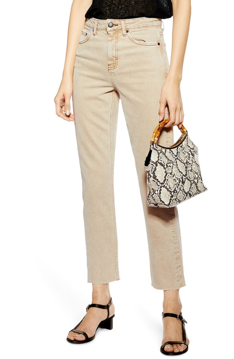 TOPSHOP High Waist Straight Leg Crop Jeans, Main, color, STONE