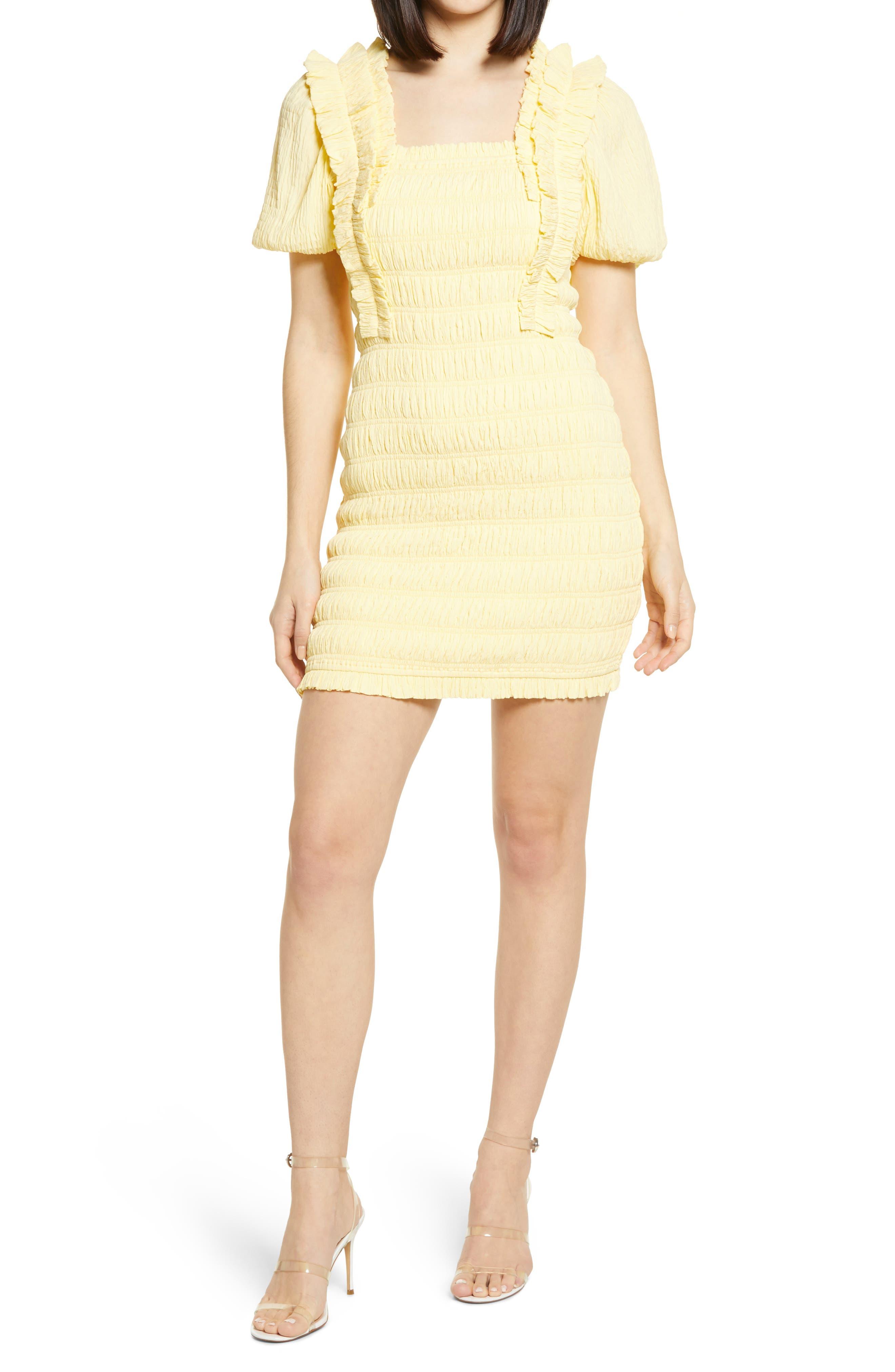 Smocked Puff Sleeve Dress