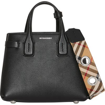 Burberry Baby Banner Leather Satchel - Black