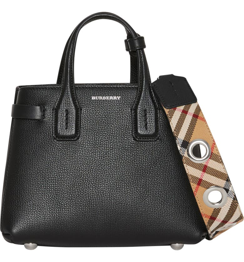 BURBERRY Baby Banner Leather Satchel, Main, color, BLACK