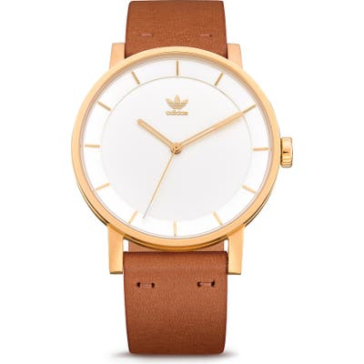 Adidas District Leather Strap Watch, 40Mm