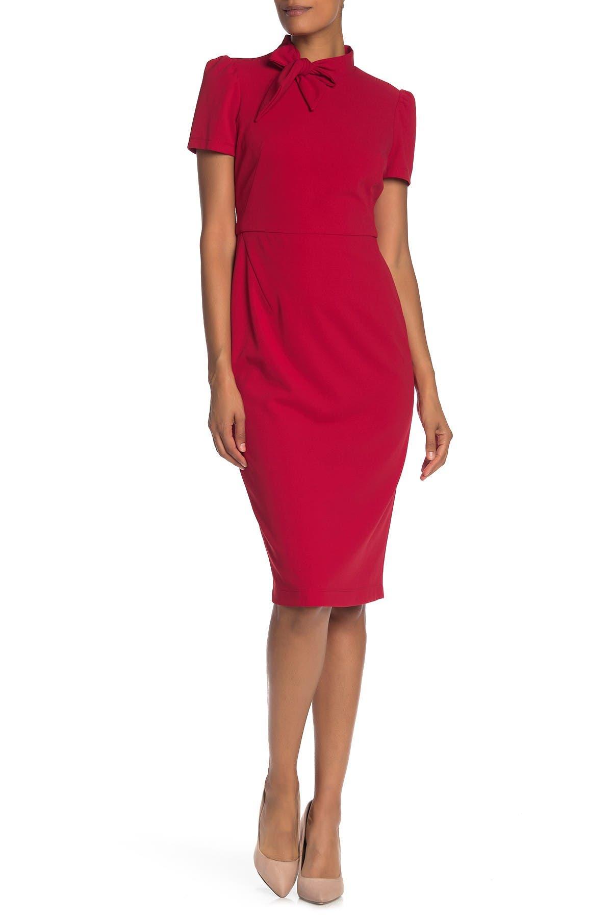 Image of Maggy London Tie Neck Short Sleeve Crepe Sheath Dress