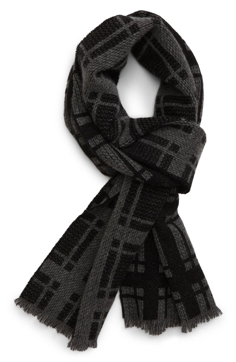 ANDREW STEWART Textured Cashmere Scarf, Main, color, BLACK