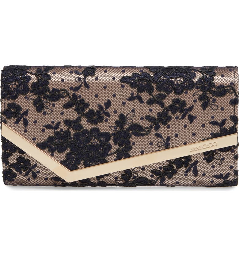 JIMMY CHOO Emmie Floral Lace Clutch, Main, color, NAVY