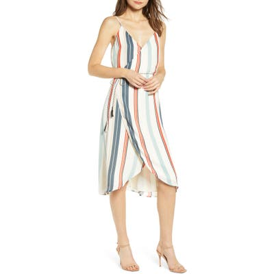 Cupcakes And Cashmere Desert Stripe Wrap Dress, Ivory
