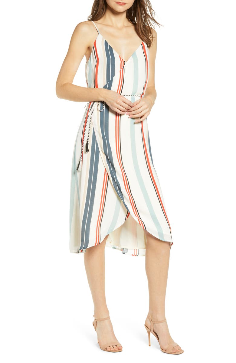 CUPCAKES AND CASHMERE Desert Stripe Wrap Dress, Main, color, IVORY