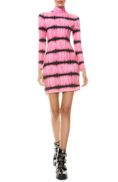 Alice And Olivia DELORA TIE DYE LONG SLEEVE BODY-CON DRESS