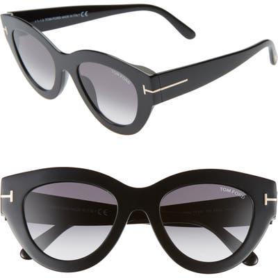 Tom Ford Slater 51Mm Cat Eye Sunglasses - Shiny Black/ Gradient Smoke