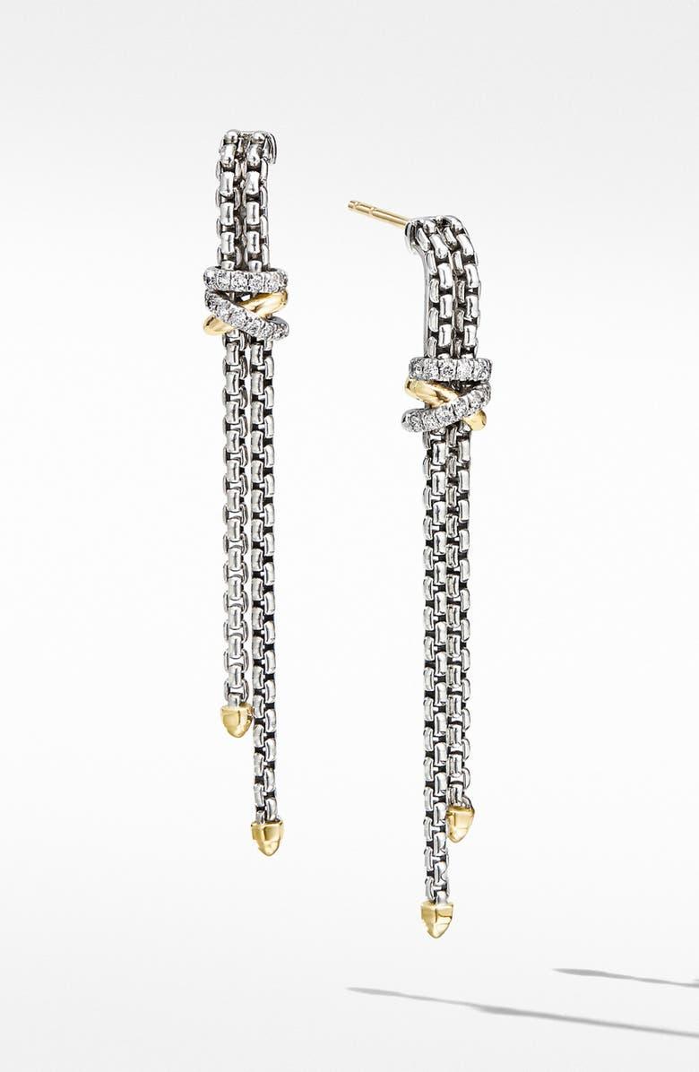 DAVID YURMAN Helena Chain Drop Earrings with 18K Yellow Gold and Diamonds, Main, color, SILVER/ GOLD/ DIAMOND