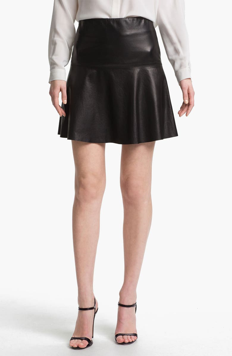 VINCE Leather Skirt, Main, color, 001