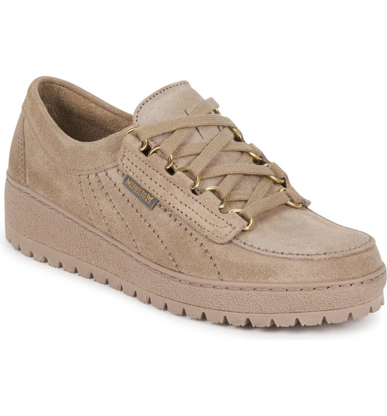 MEPHISTO Lady Low Top Sneaker, Main, color, LIGHT TAUPE SUEDE