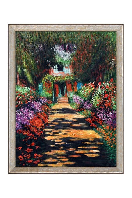 """Image of Overstock Art Garden Path at Giverny Framed Oil Reproduction of an Original Painting by Claude Monet - 34""""x44"""""""