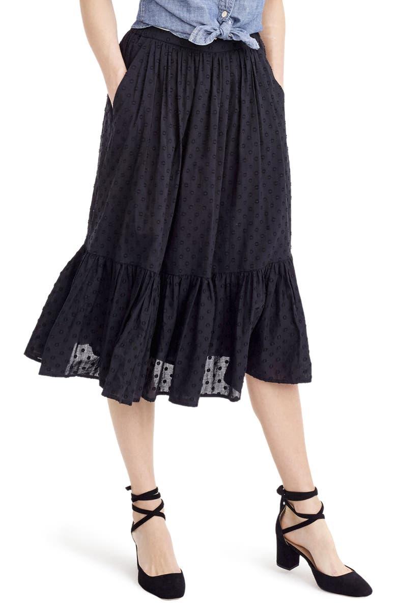 J.CREW Baluster Clip Dot Skirt, Main, color, 001