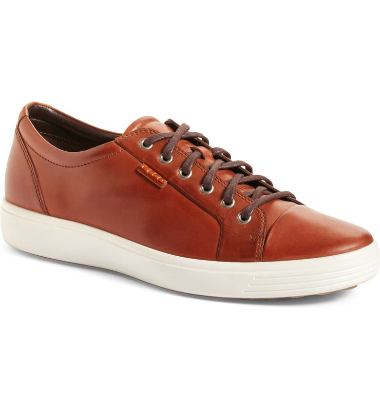 ECCO Soft VII Lace-Up Sneaker, Main, color, MAHOGANY