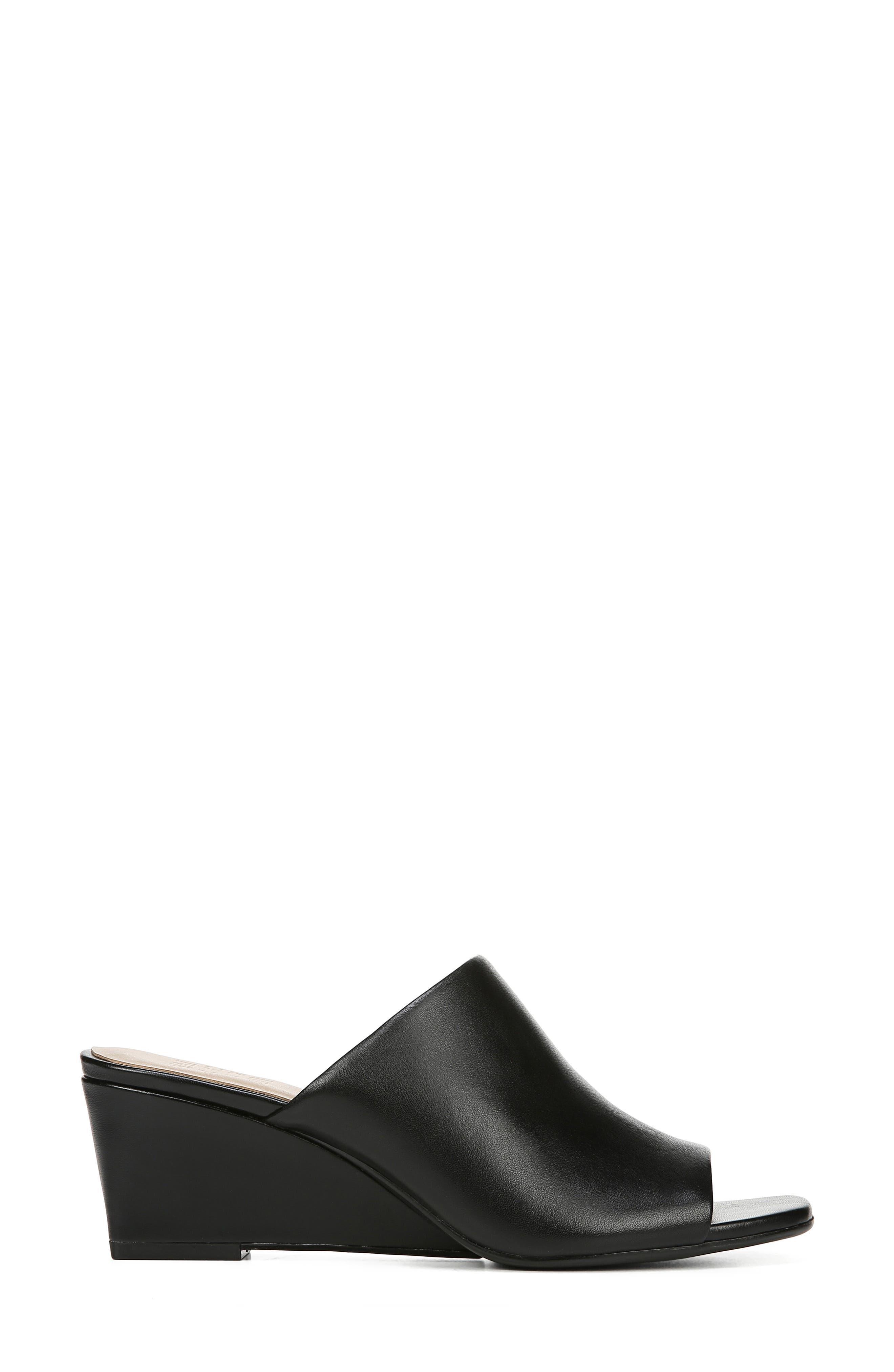 ,                             Zaya Wedge Slide Sandal,                             Alternate thumbnail 3, color,                             BLACK LEATHER