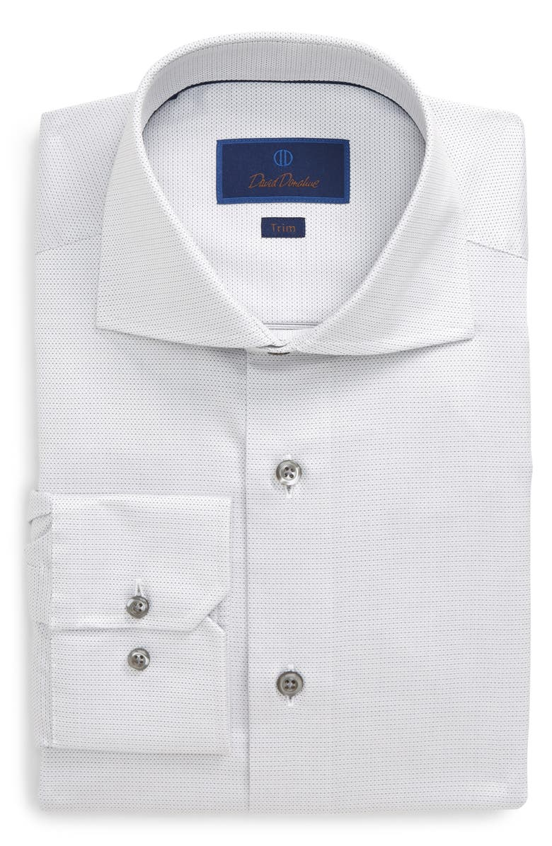 DAVID DONAHUE Trim Fit Dress Shirt, Main, color, WHITE/ GREY
