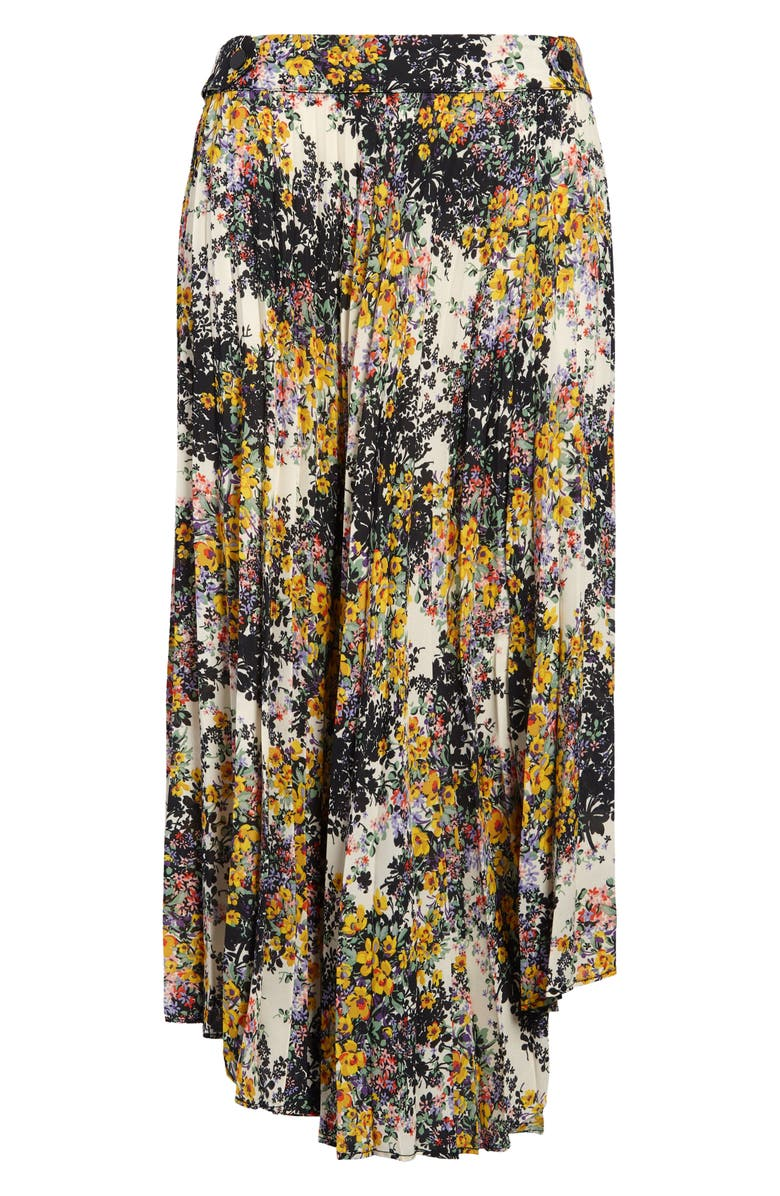 TOPSHOP Floral Pleated Skirt, Main, color, BLACK MULTI