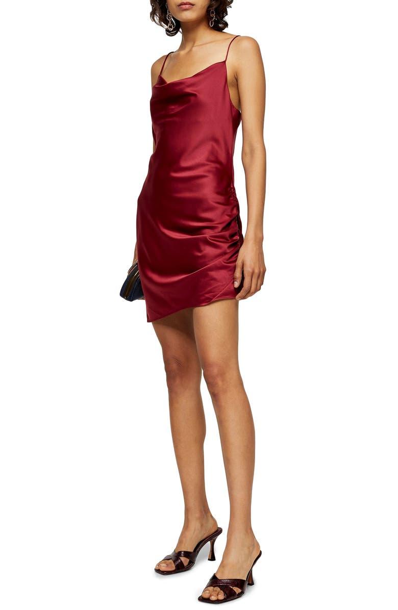 TOPSHOP Ruched Satin Mini Slip Dress, Main, color, RED