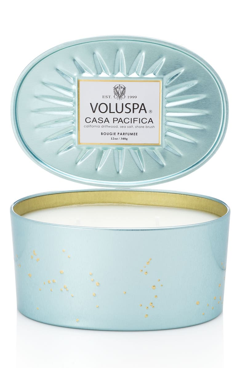 VOLUSPA Vermeil Casa Pacifica Oval Tin Two-Wick Candle, Main, color, 000