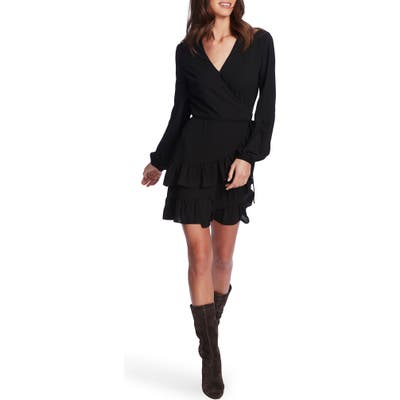 1.state Wrap Front Tiered Ruffle Long Sleeve Dress, Black